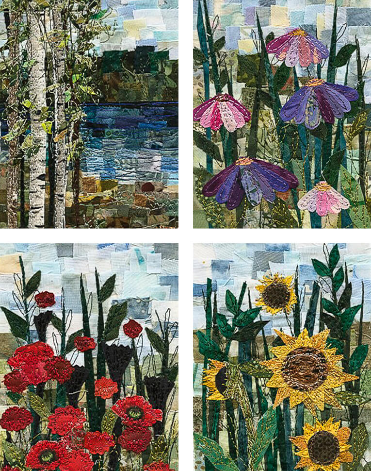Small mosaic art quilts by ann loveless