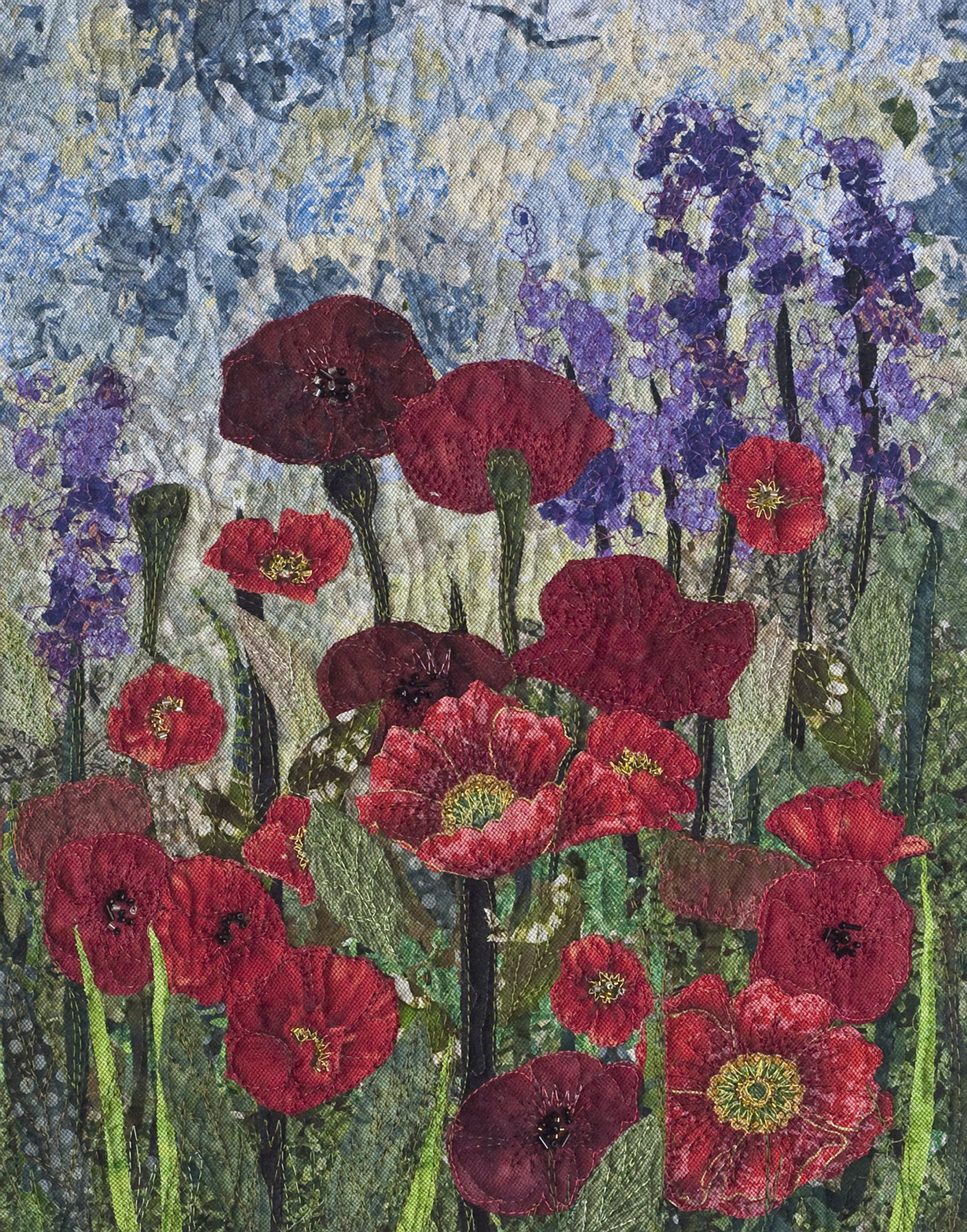 Poppies Impressionistic Art Quilt Quilts By Ann