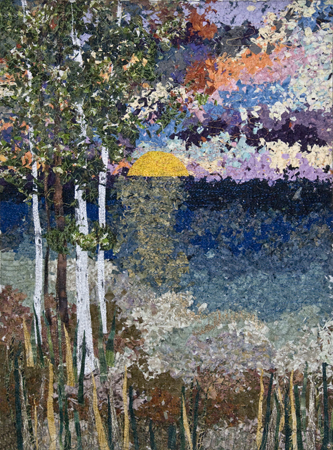 Sunset Impressionistic Quilt Vertical Quilts By Ann